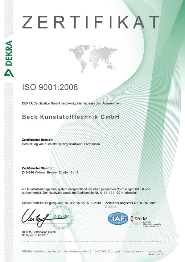 Zertifikat ISO 9001 2008